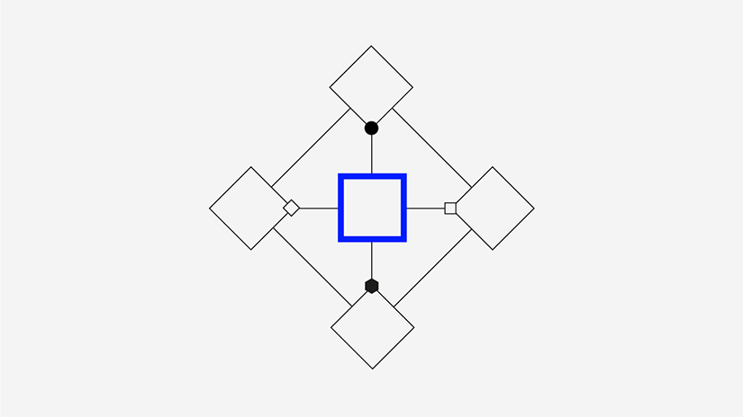 Graphic illustrating various shapes surrounding a blue outlined square