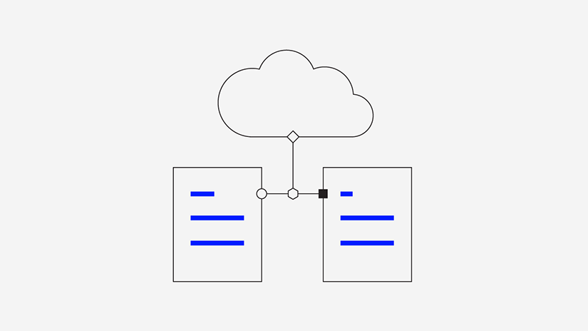 Graphic illustrating computer cloud and databases
