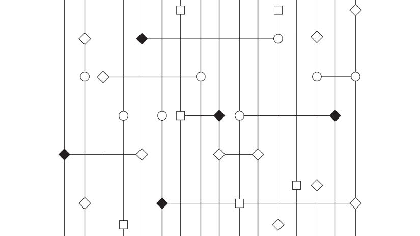 Black perpendicular lines and connecting dots