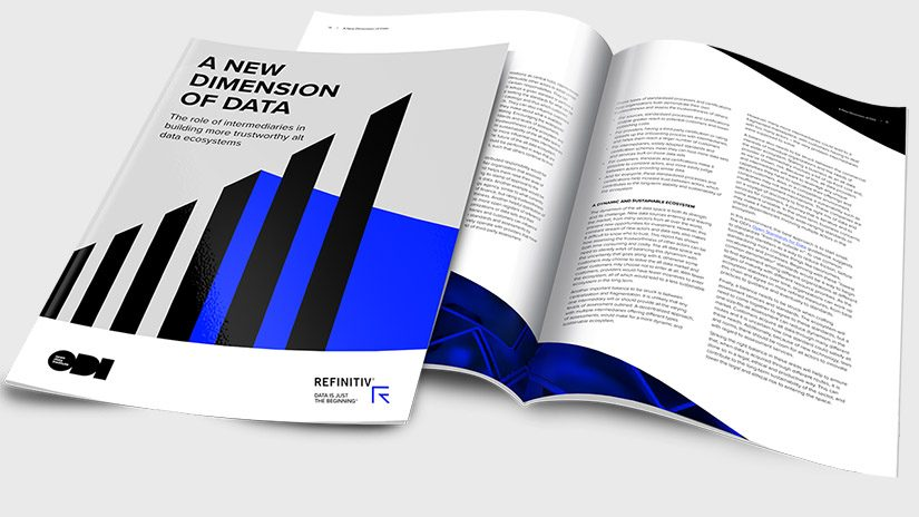 front cover shot of the new dimension of data report on a grey background