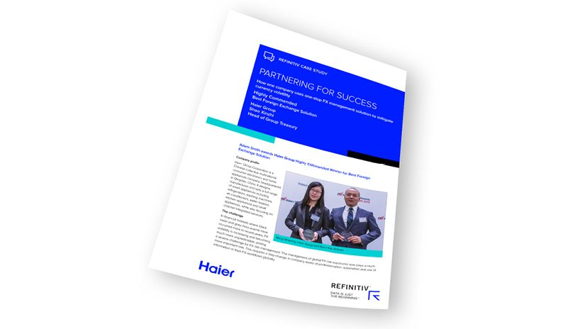 Report cover of Haier group uses one-stop solution to mitigate currency volatility.