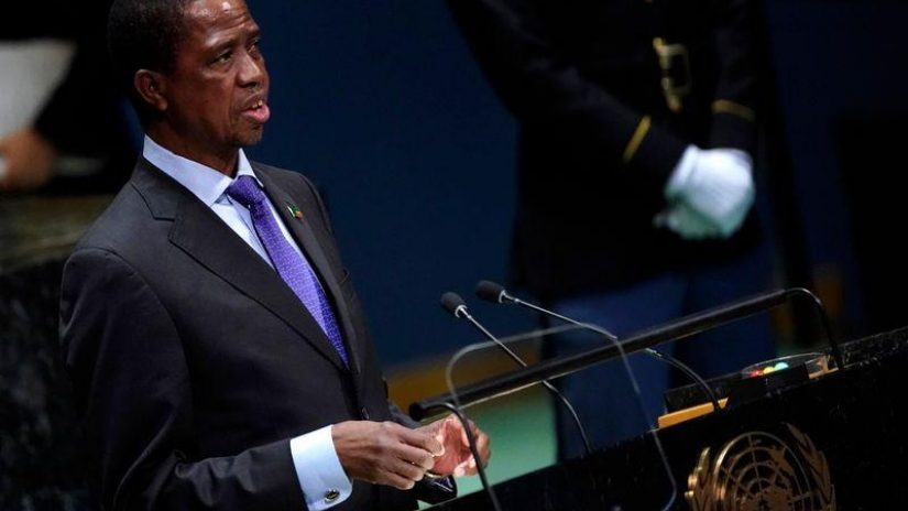 Zambia's President Edgar Chagwa Lungu addresses the 74th session of the United Nations General Assembly at U.N. headquarters in New York City, New York, U.S.