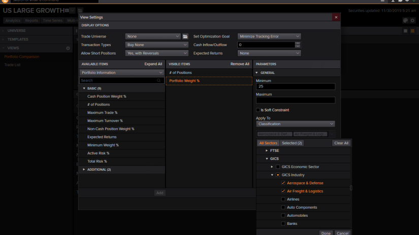 Screenshot from Eikon depicting portfolio optimization options