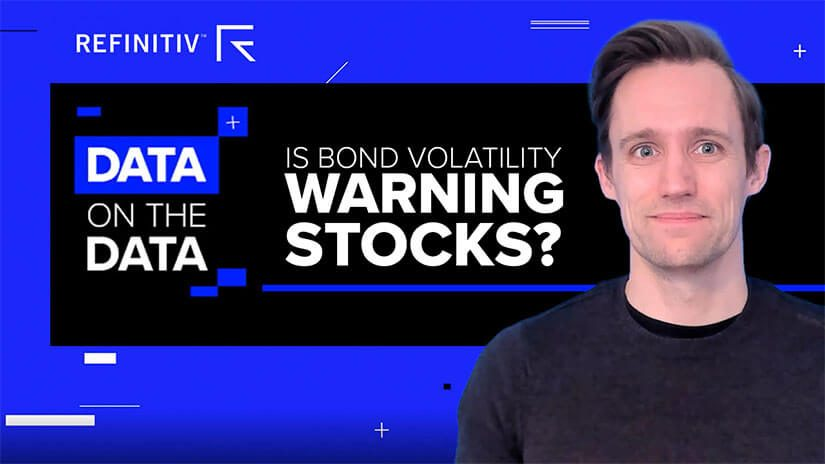 Oliver Hetherington stands on a blue background with the title is bond volatility warning stocks