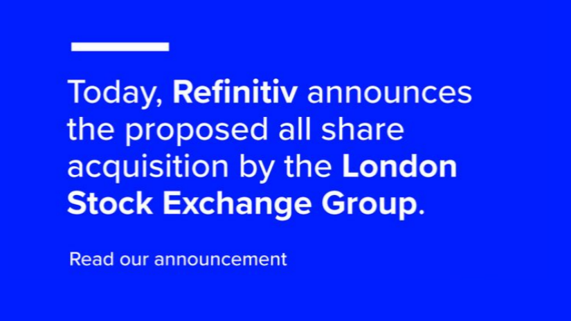 An announcement on a blue background mentioning the London Stock Exchange Group acquisition.