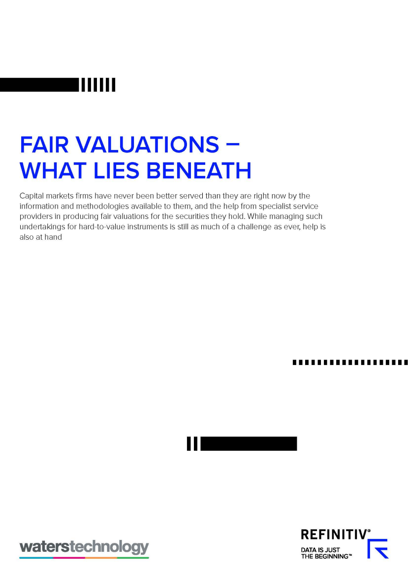 A white page with black rectangles overlaying. The text reads 'fair valuations what lies beneath'