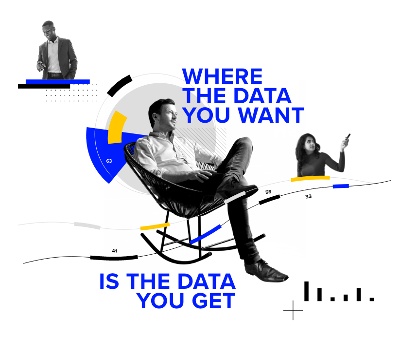 Collage of professional works, with the strap line Where the Data You Want is the Data You Get