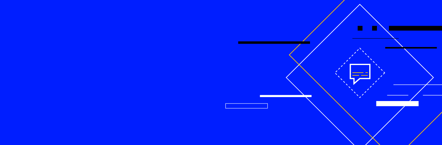 A blue background with a message icon surrounded by layers of rectangles on the right hand side