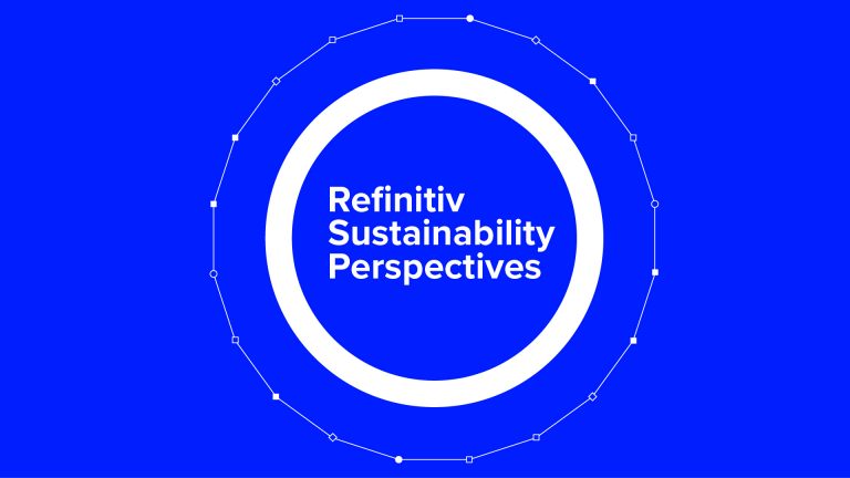 Refinitiv Sustainability Perspectives text on blue background with graphic concentric circles