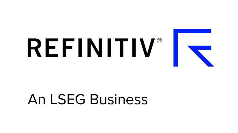 Refinitiv logo with blue arrow - data is just beginning