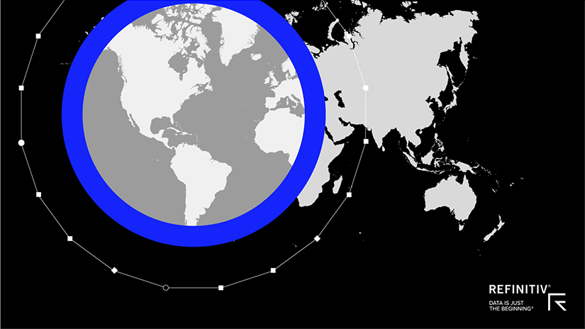 A map of the earth on a black background, overlaying the Atlantic and Americas is a blue ring with a blurred fill