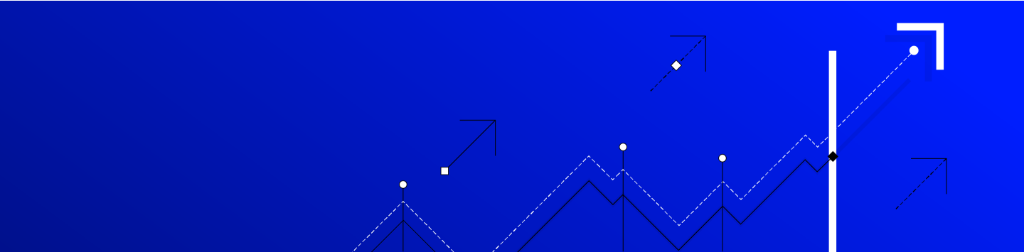 Vivid blue banner with white and black lines in an upwards graph trend and large arrows pointing to the top right.