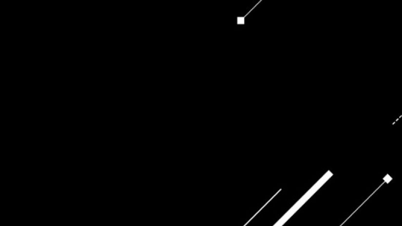 black background with three white lines in bottom right emerging up at a 45 degree angle