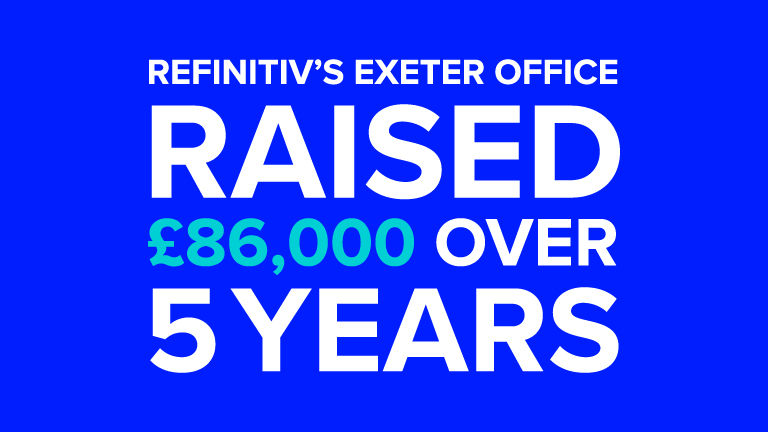 A blue background with the text £86,000 raised over 5 years to represent the money raised by the Refinitiv Exeter office.