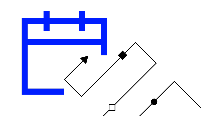 Graphic illustrating a black arrow moving inside a blue box