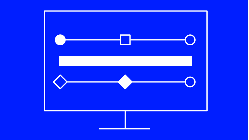 White and blue illustration of screen data