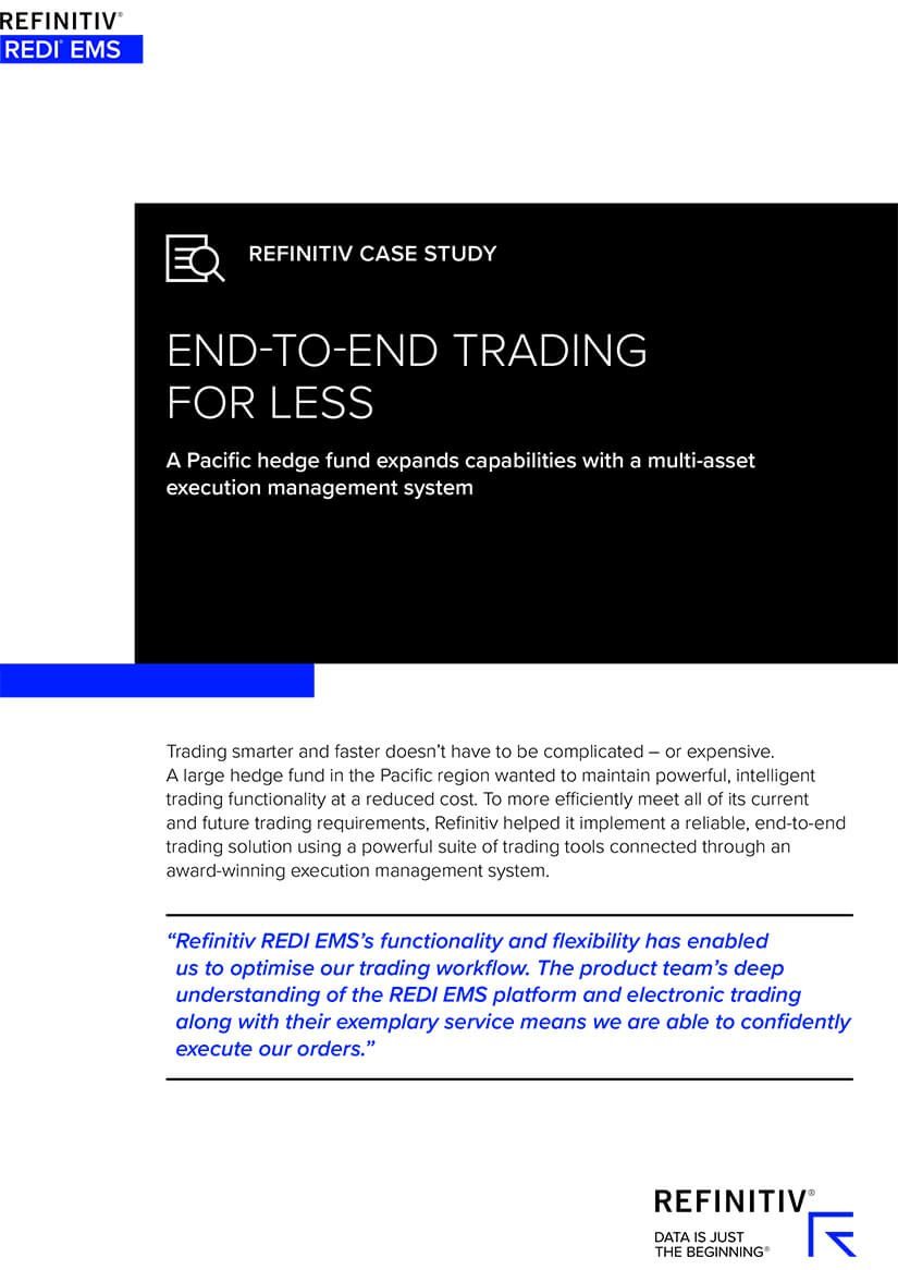 Front cover of a Redi EMS case study featuring a Pacific hedge fund