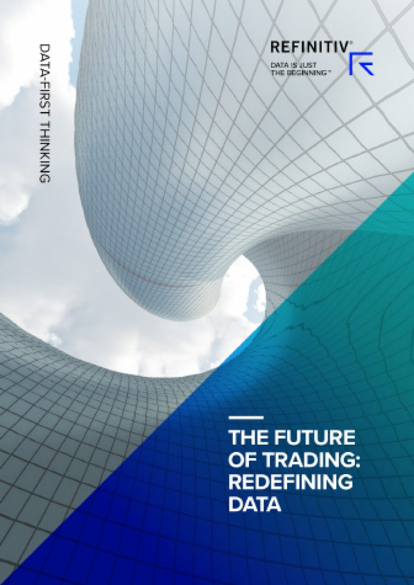 "Front cover of report with swirling architecture and blue/turquoise fade over which the title reads ""The future of trading: redefining data"""