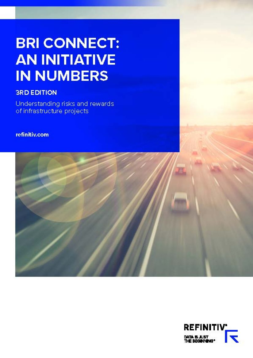 "Front cover of report with title: BRI: Connect: An Initiative in Numbers, Third edition.  ""Understanding risks and rewards of infrastructure projects"".  Blurred cars on motorway."