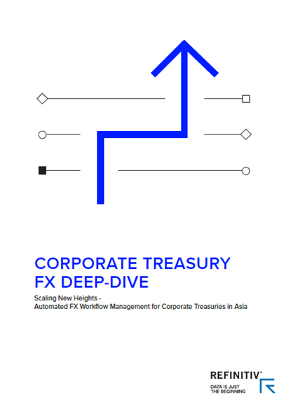 Front cover of Corporate treasury report featuring bold blue arrow on white backdrop