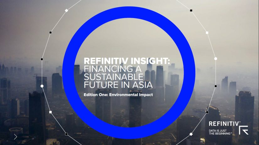 Front cover of report with Asian city skyscrapers surrounded by smog.  Report title reads Refinitiv insight: Financing a sustainable future in Asia.