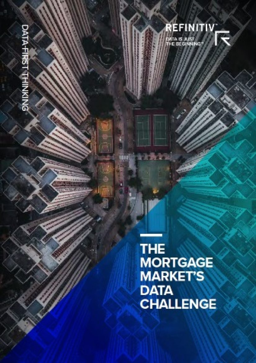 "Aerial view of urban tower blocks with blue diagonal overlay to the right with white text: ""The mortgage market's data challenge."""