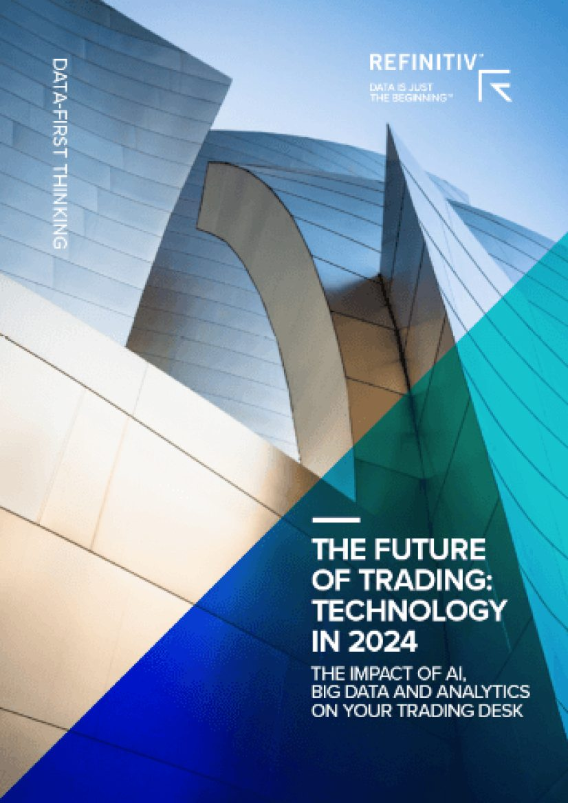 "Front cover of report with image of building with complex architecture and silver external panels.  Text reads: ""The Future of Trading: Technology in 2024"""