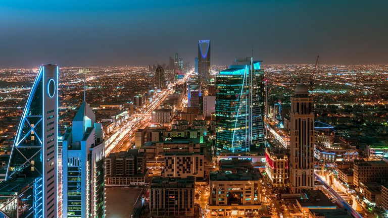 Saudi Arabia Riyadh cityscape at night