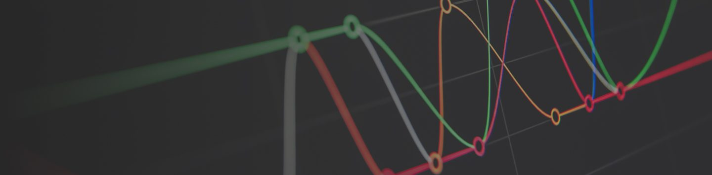 Colourful lines of data displayed against a black background