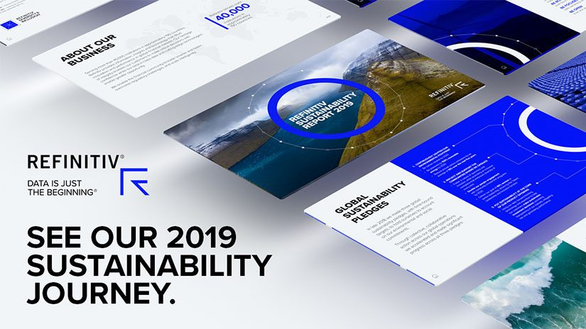 A top down view of the slides of the report angled diagonally. On the left the words read see our 2019 sustainability journey