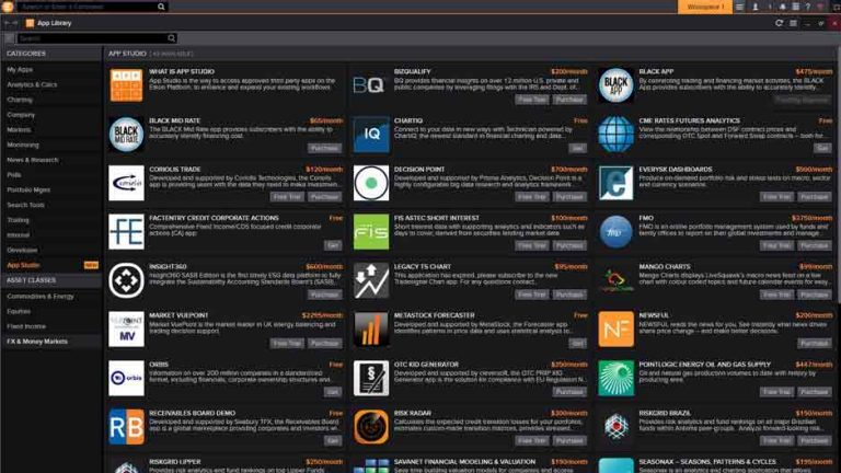 Screenshot of the app library