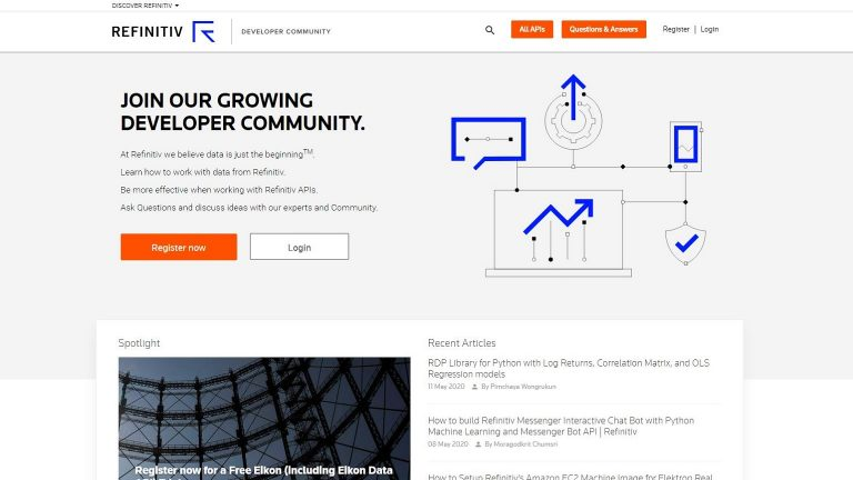 The developer community homepage screenshot