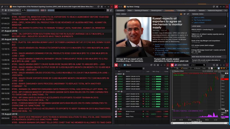 Screenshot relating to news headlines relating to OPEC