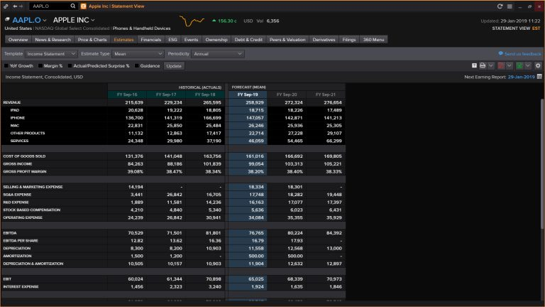 Screenshot showing estimates statement view