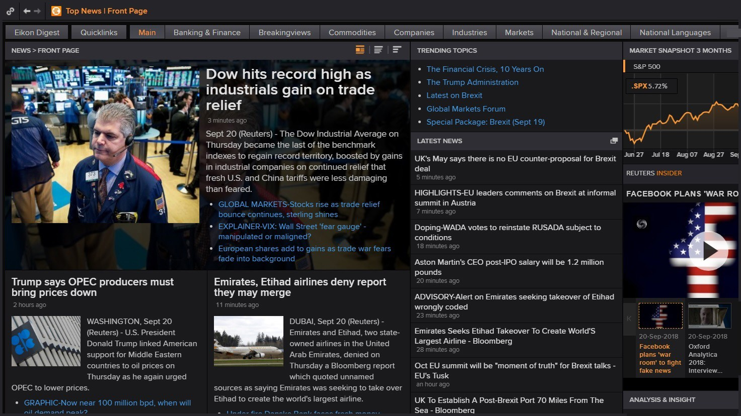 Screenshot showing the Eikon news front page