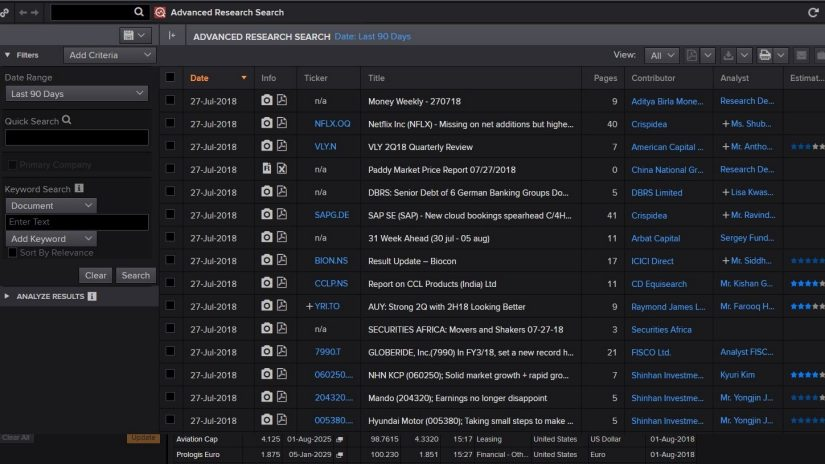 screenshot of Eikon showing Advanced Research Search