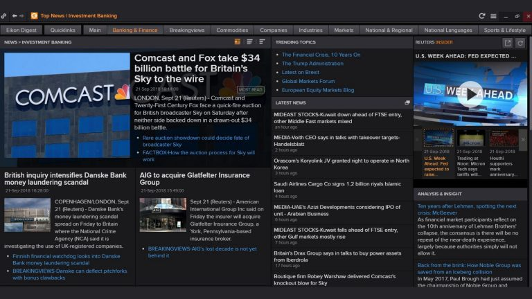 screenshot of Eikon showing top investment banking news