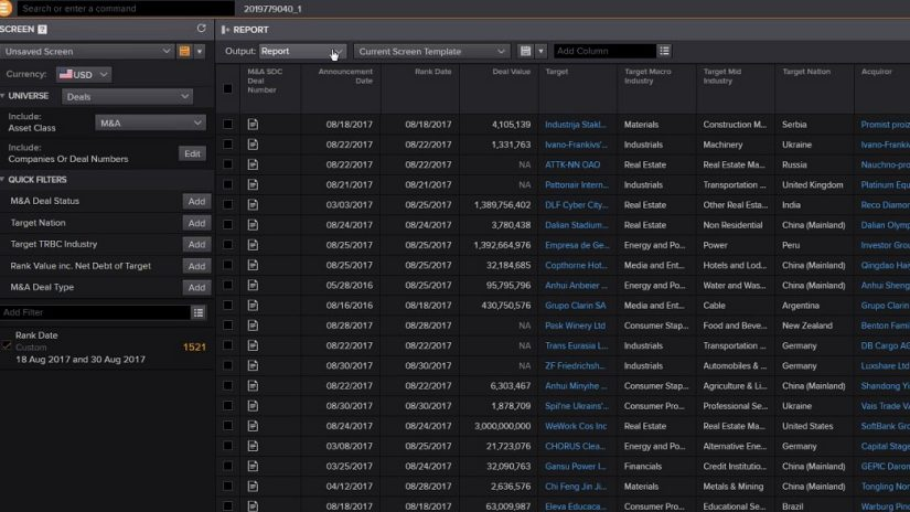 screenshot of Eikon showing mergers and acquisitions data