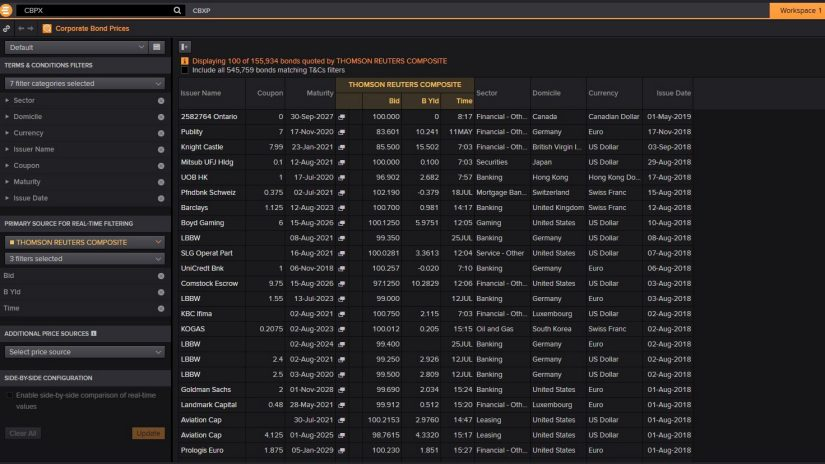 screenshot of Eikon showing Corporate bond prices in CBXP