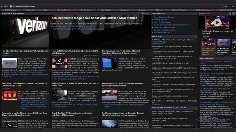 Screenshot for investment banking news on Eikon