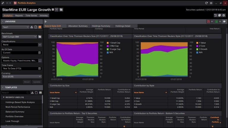 Screenshot for Investment management showing portfolio analysis for StarMine