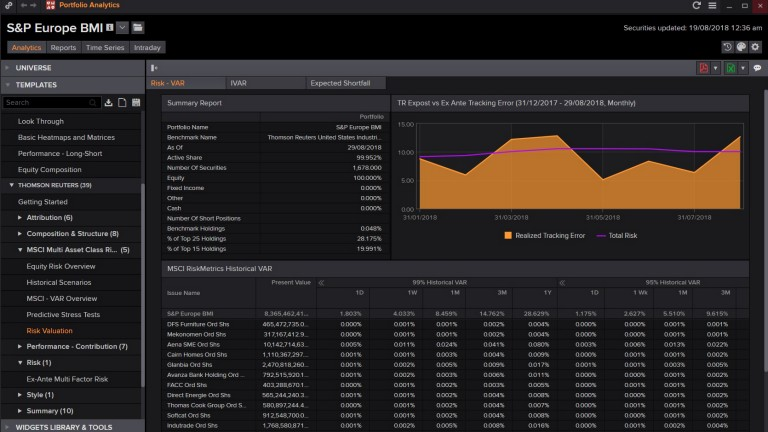 Screenshot showing portfolio analytics for S&P Europe BMI