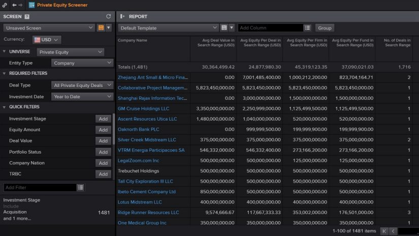 screenshot of Eikon showing Private Equity Screener