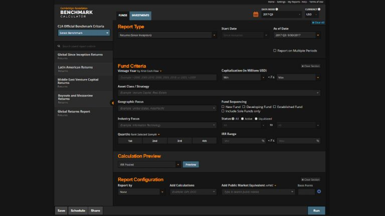 Screenshot Of Eikon Showing Cambridge Associates Benchmark Calculator
