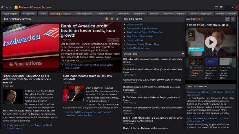 Screenshot of the banking and finance news page