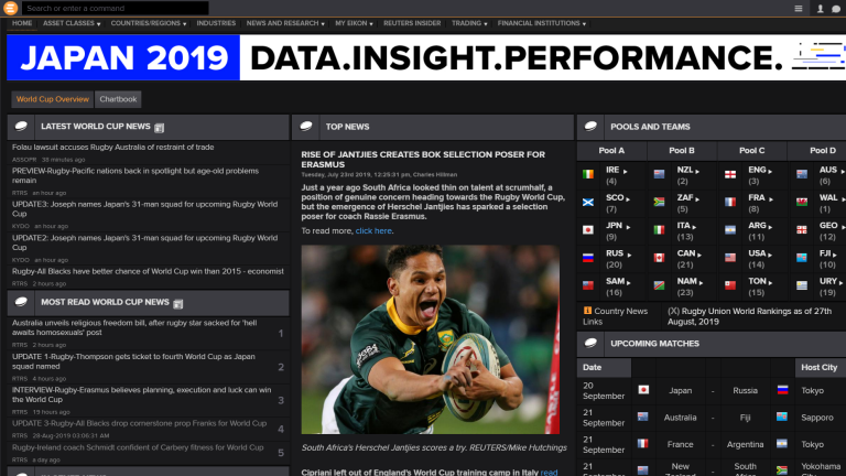 Eikon Rugby World Cup Japan 2019 App Screenshot