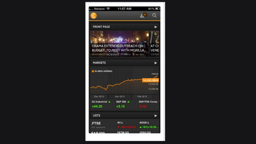 screenshot of Eikon Mobile app