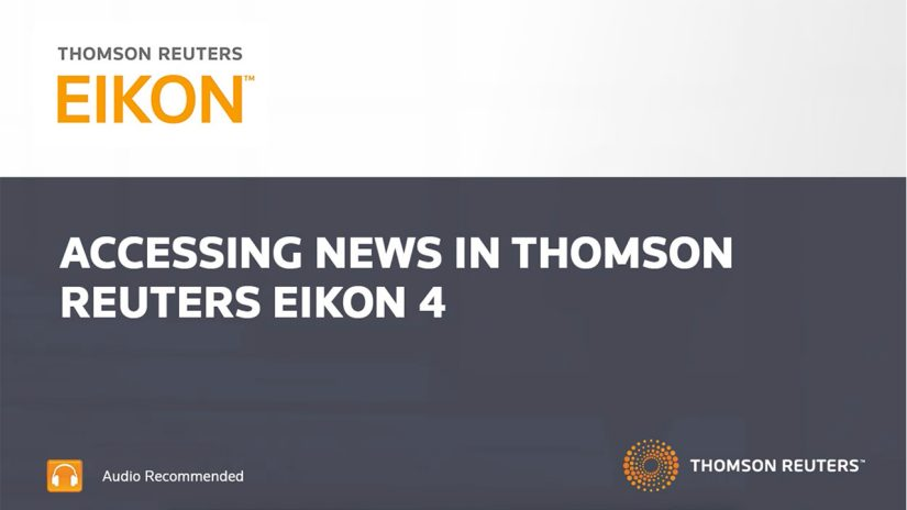 Introduction to accessing news in Eikon training video still