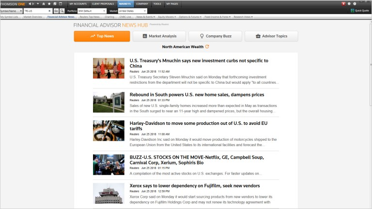 A screenshot showing thomson one financial advisor news hub