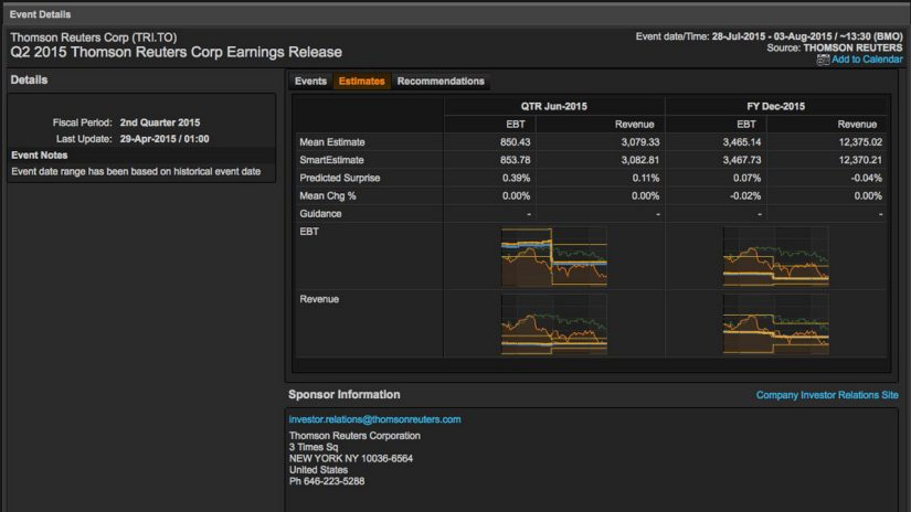 Screenshot of Thomson Reuters corp earnings release